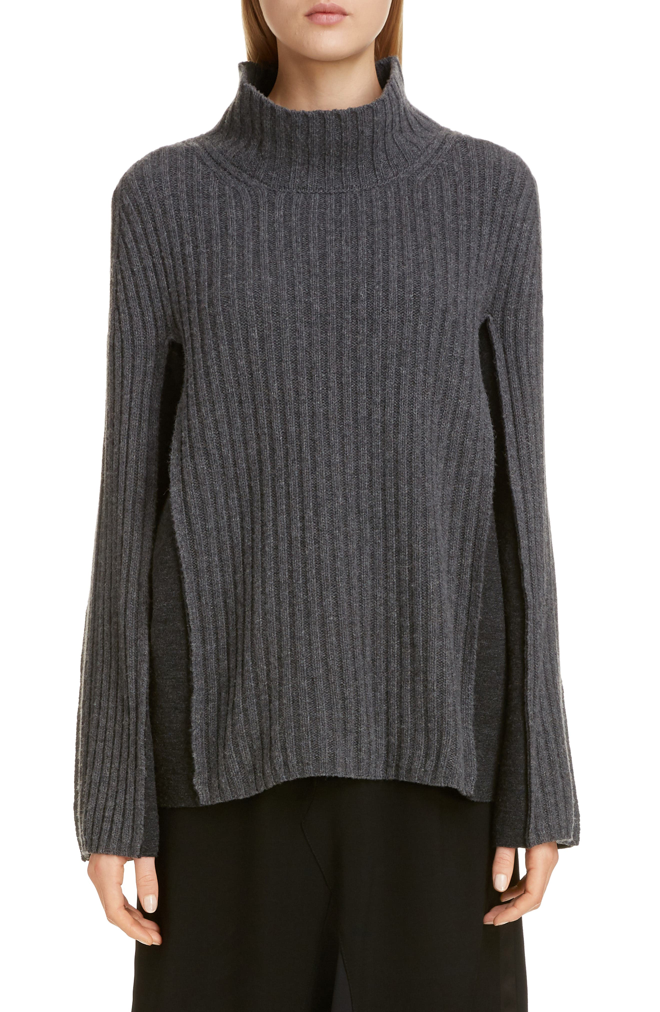 Maison Margiela Sweaters Ribbed Bicolor Wool Blend Sweater