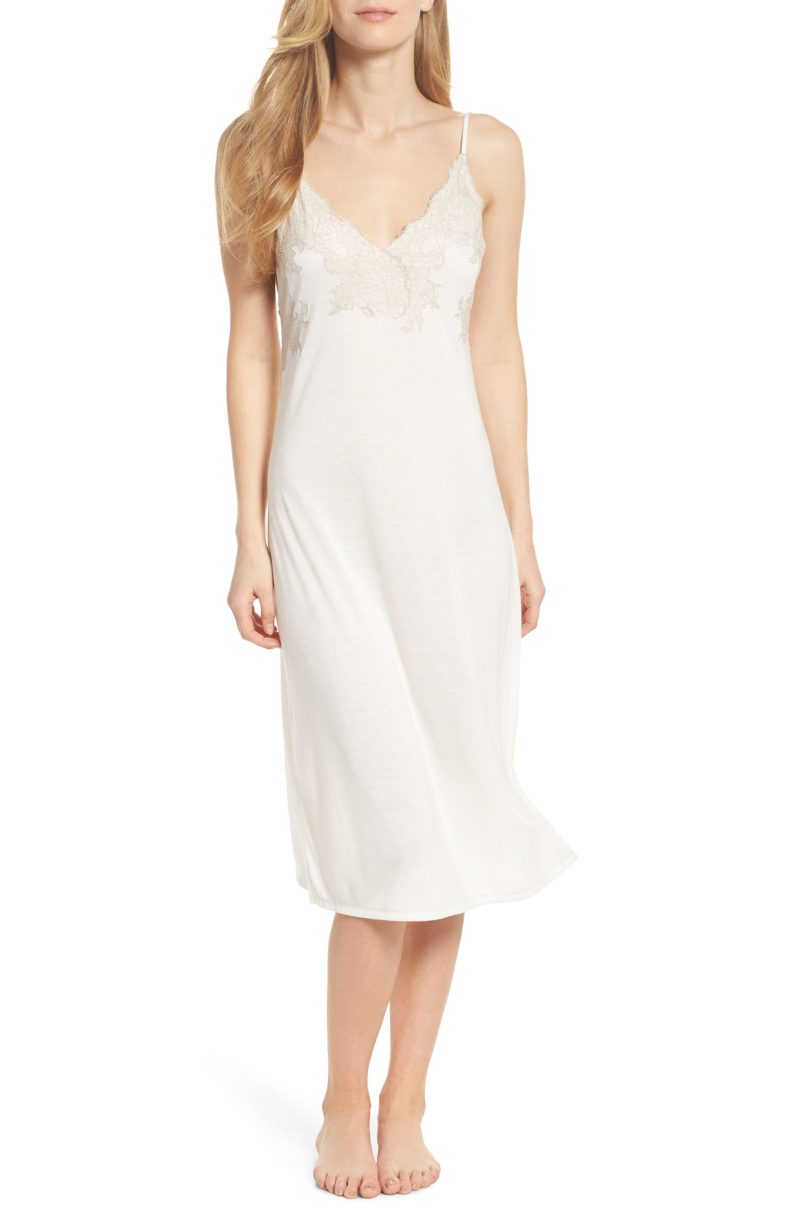 Natori Luxe Shangri-La Nightgown, Ivory