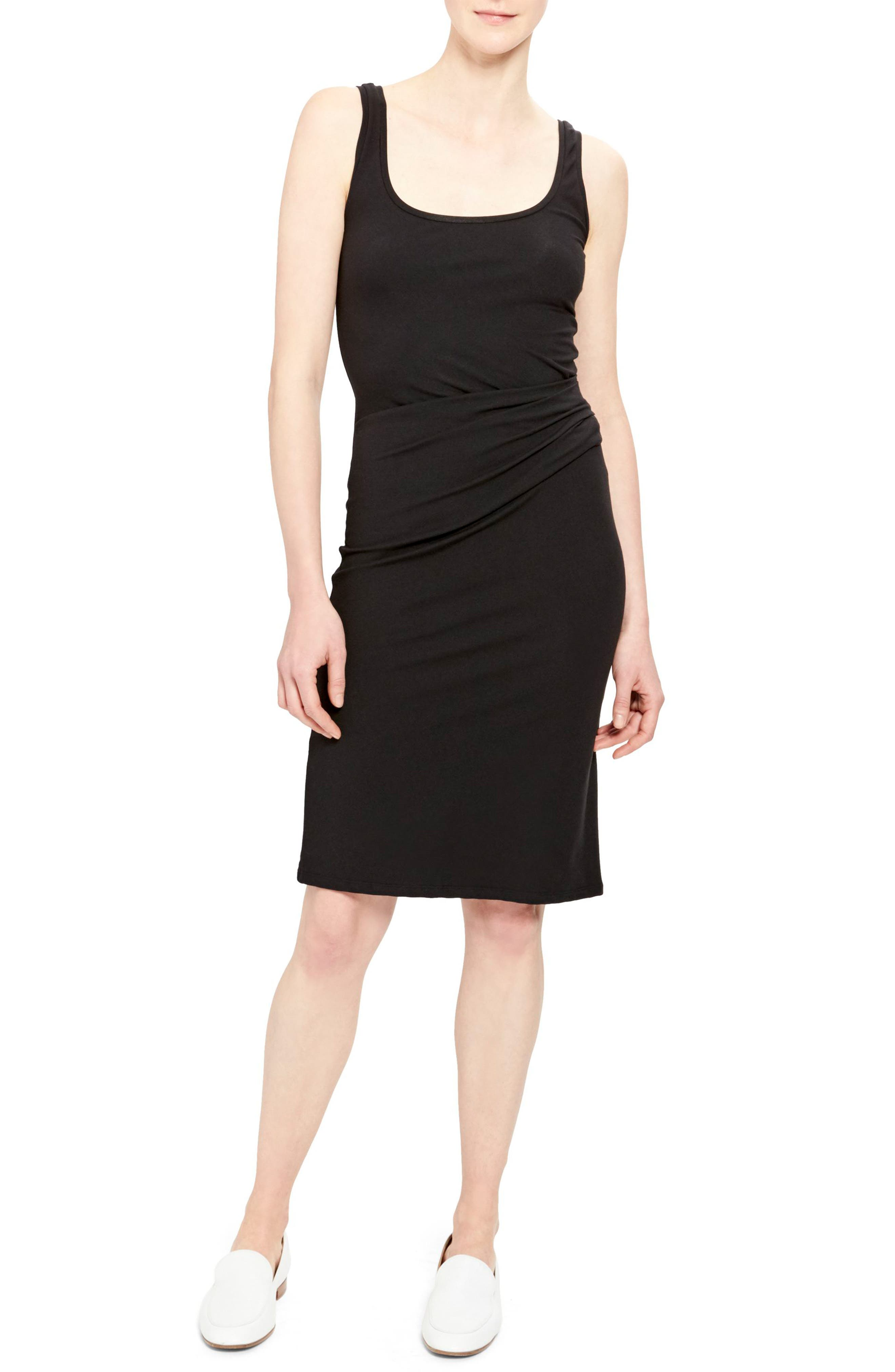 Theory Rubric Ruched Stretch Jersey Tank Dress, Size Petite - Black