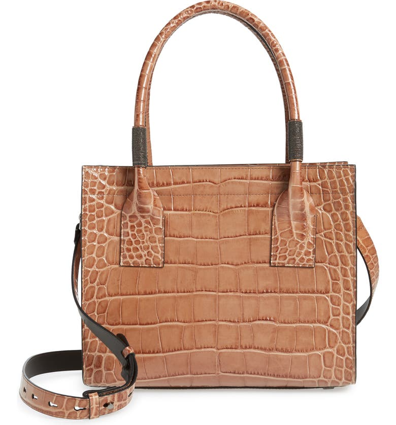 BRUNELLO CUCINELLI Monili Trim Croc Embossed Leather Tote, Main, color, CAMEL