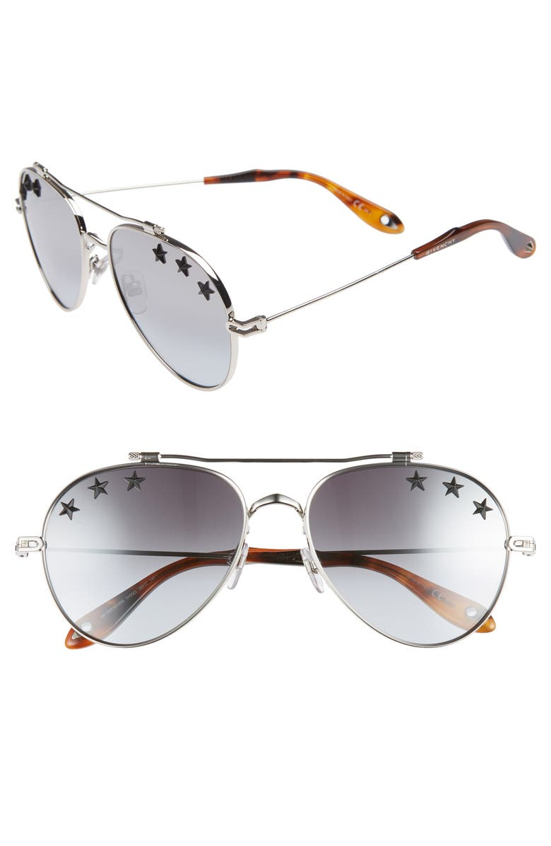 GIVENCHY Star Detail 58mm Mirrored Aviator Sunglasses, Main, color, PALLADIUM/ GREY AZURE