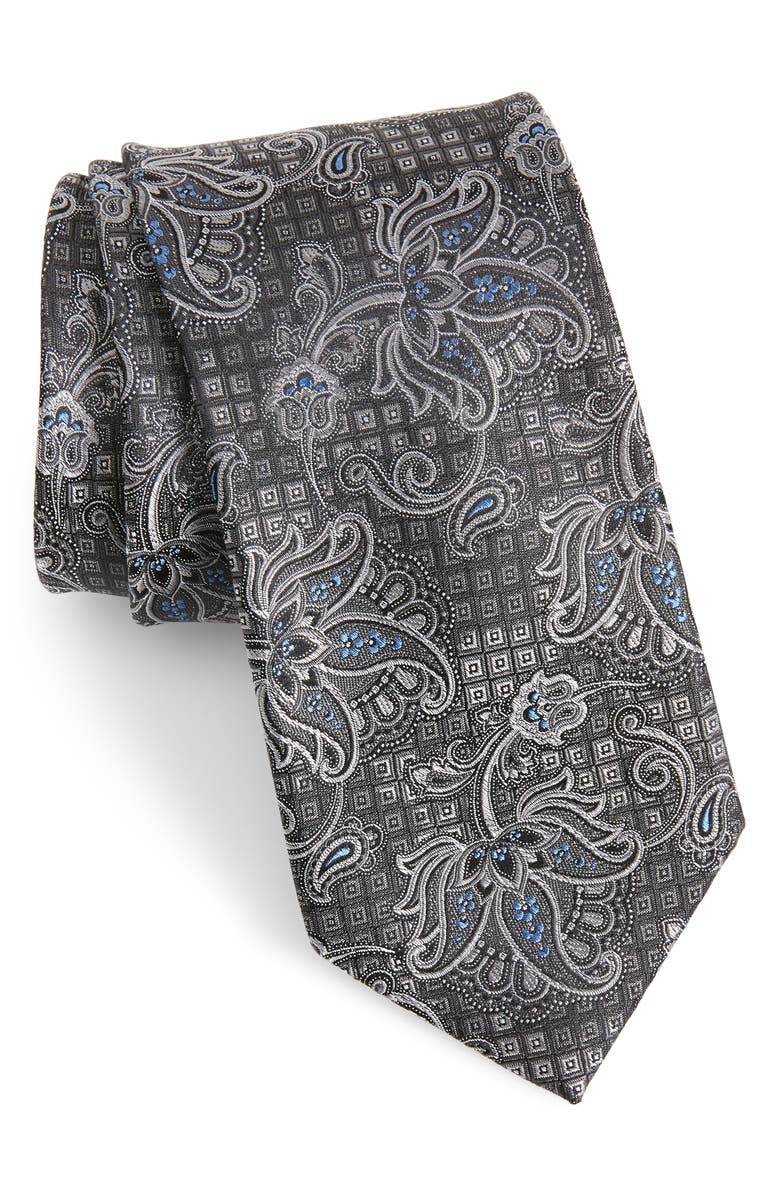 NORDSTROM MEN'S SHOP Alioto Paisley Silk Tie, Main, color, 001