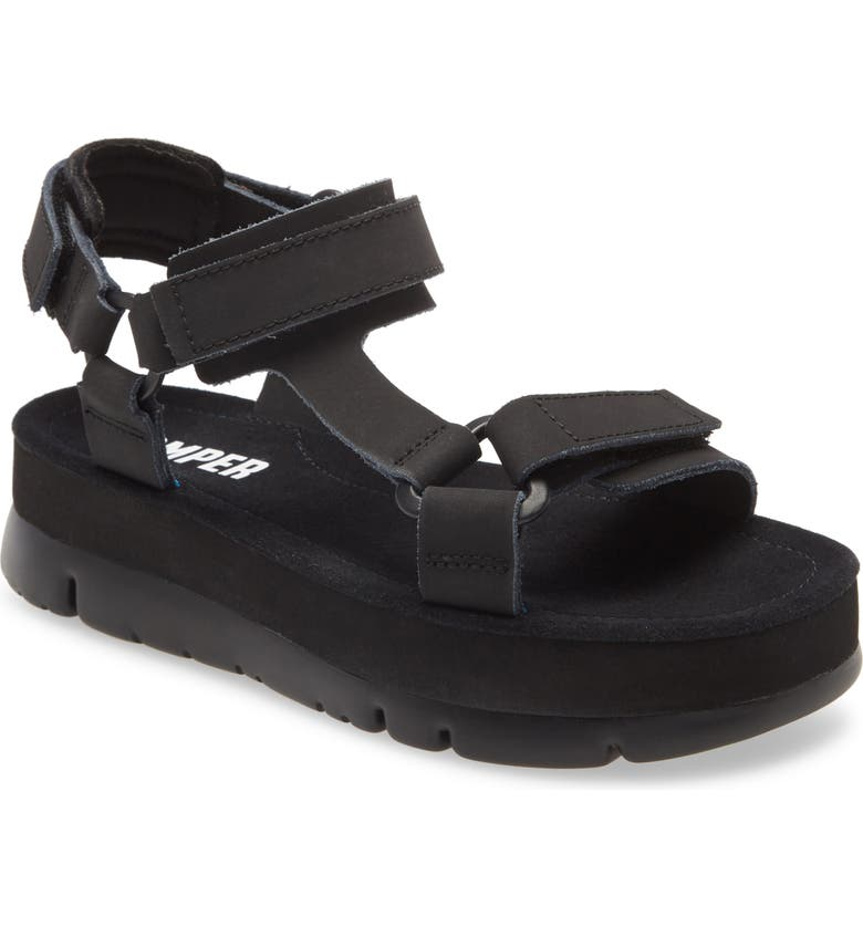 CAMPER Oruga Up Platform Sport Sandal, Main, color, BLACK LEATHER