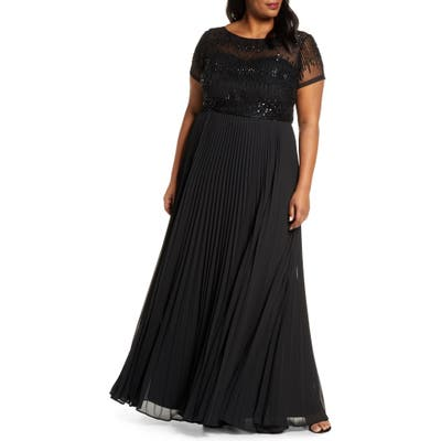 Plus Size Js Collections Beaded Ballgown, Black