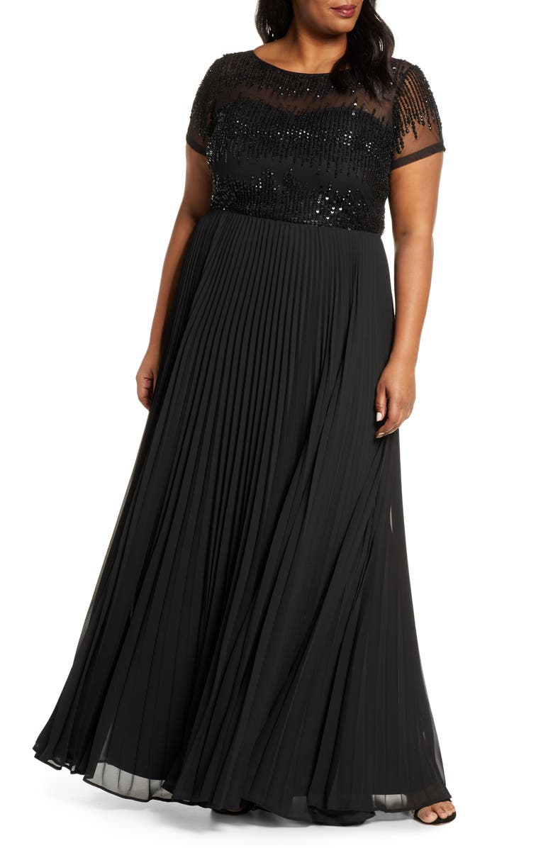 JS COLLECTIONS Beaded Ballgown, Main, color, 001