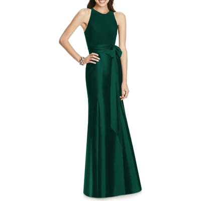 Alfred Sung Mikado Jersey Bodice Trumpet Gown, Green