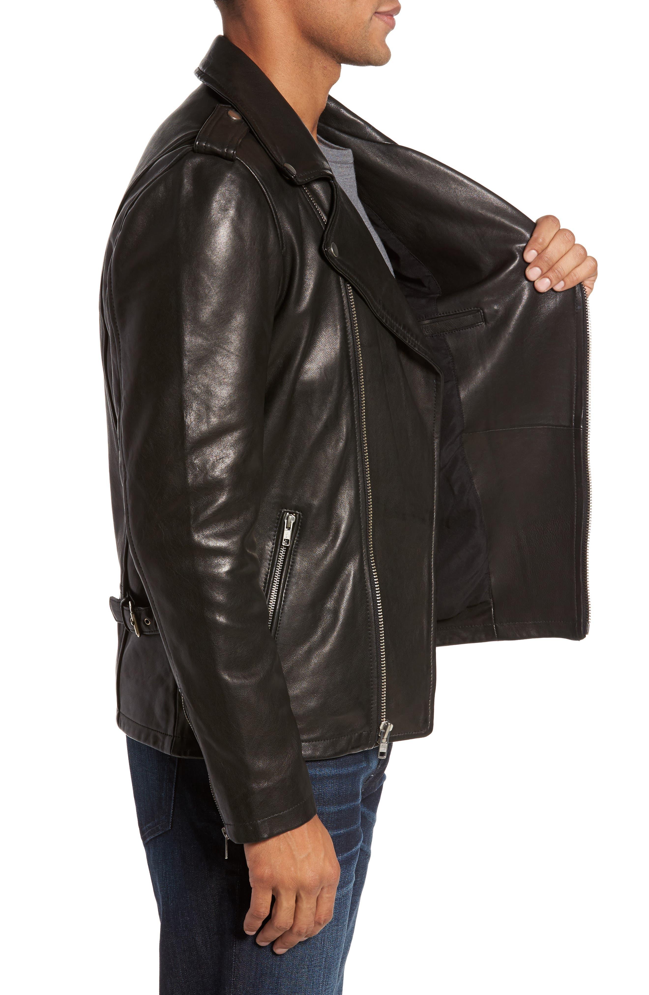 ,                             Leather Biker Jacket,                             Alternate thumbnail 3, color,                             BLACK