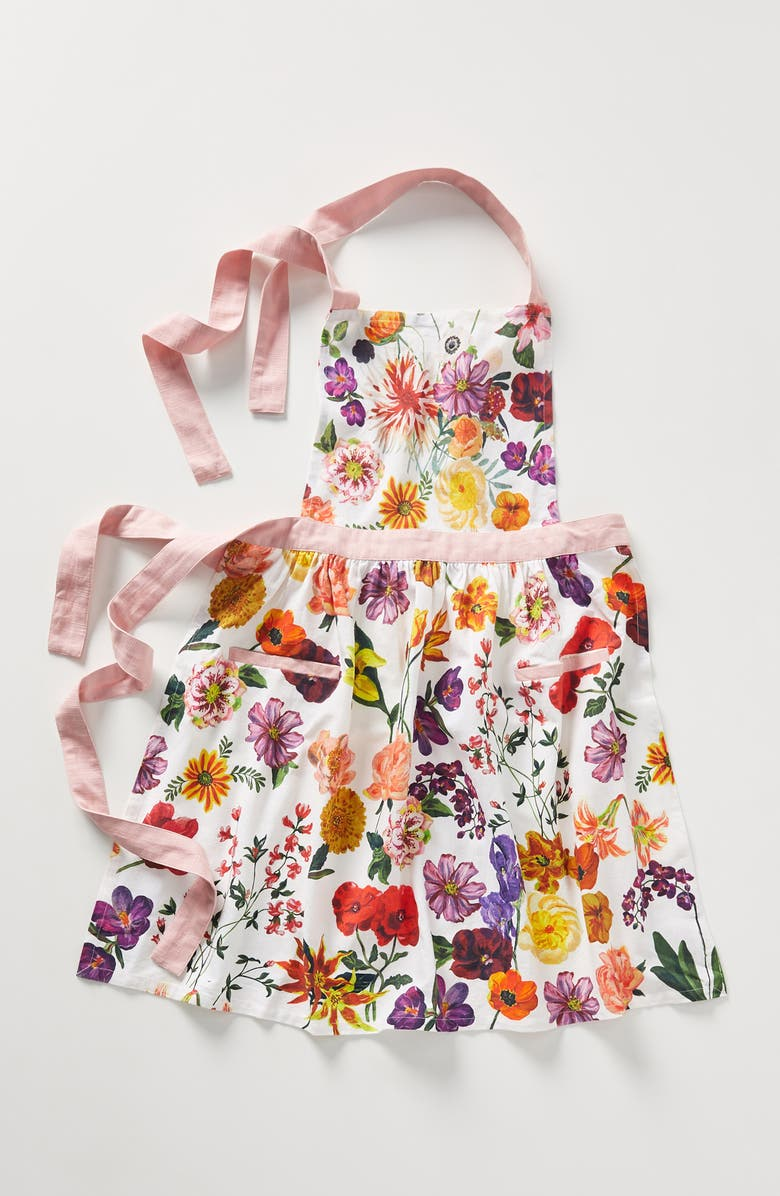 ANTHROPOLOGIE x Nathalie Lete Floral Cotton Apron, Main, color, ORANGE MULTI