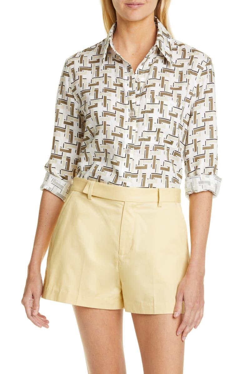 EQUIPMENT Bradner Print Linen Shirt, Main, color, 110