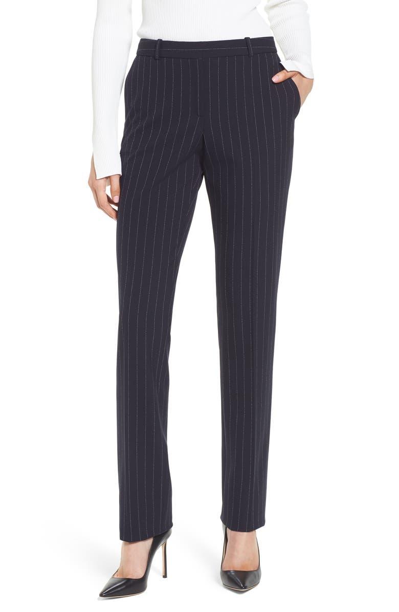 BOSS Titana Pinstripe Suit Trousers, Main, color, 461