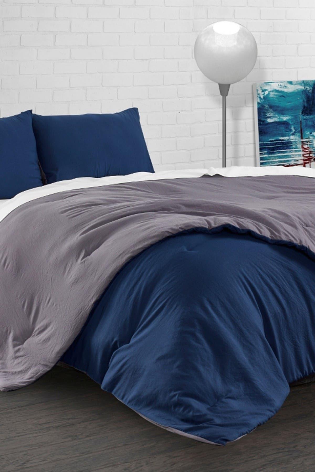 Image of Ella Jayne Reversible Brushed Microfiber Plush Down-Alt Comforter 3 Piece Set - King - Charcoal/Navy