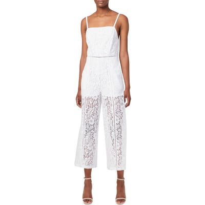 French Connection Helenie Crop Lace Jumpsuit, White
