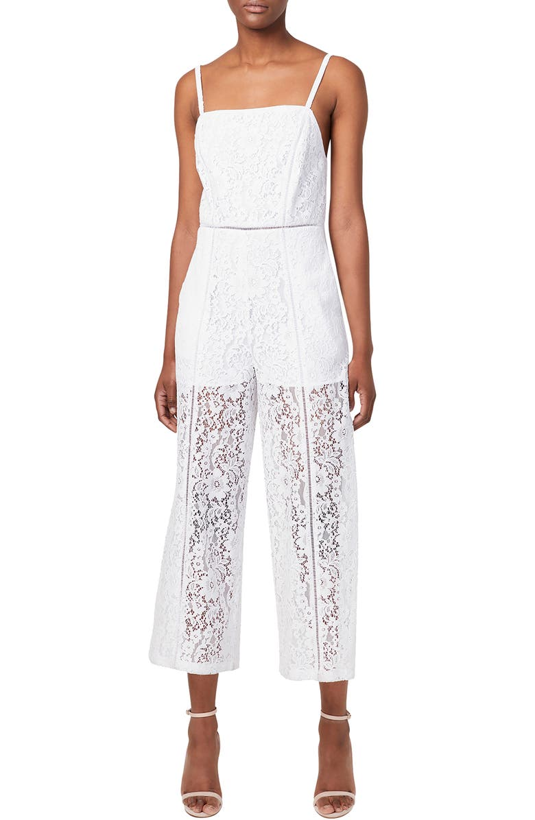 FRENCH CONNECTION Helenie Crop Lace Jumpsuit, Main, color, LINEN WHITE