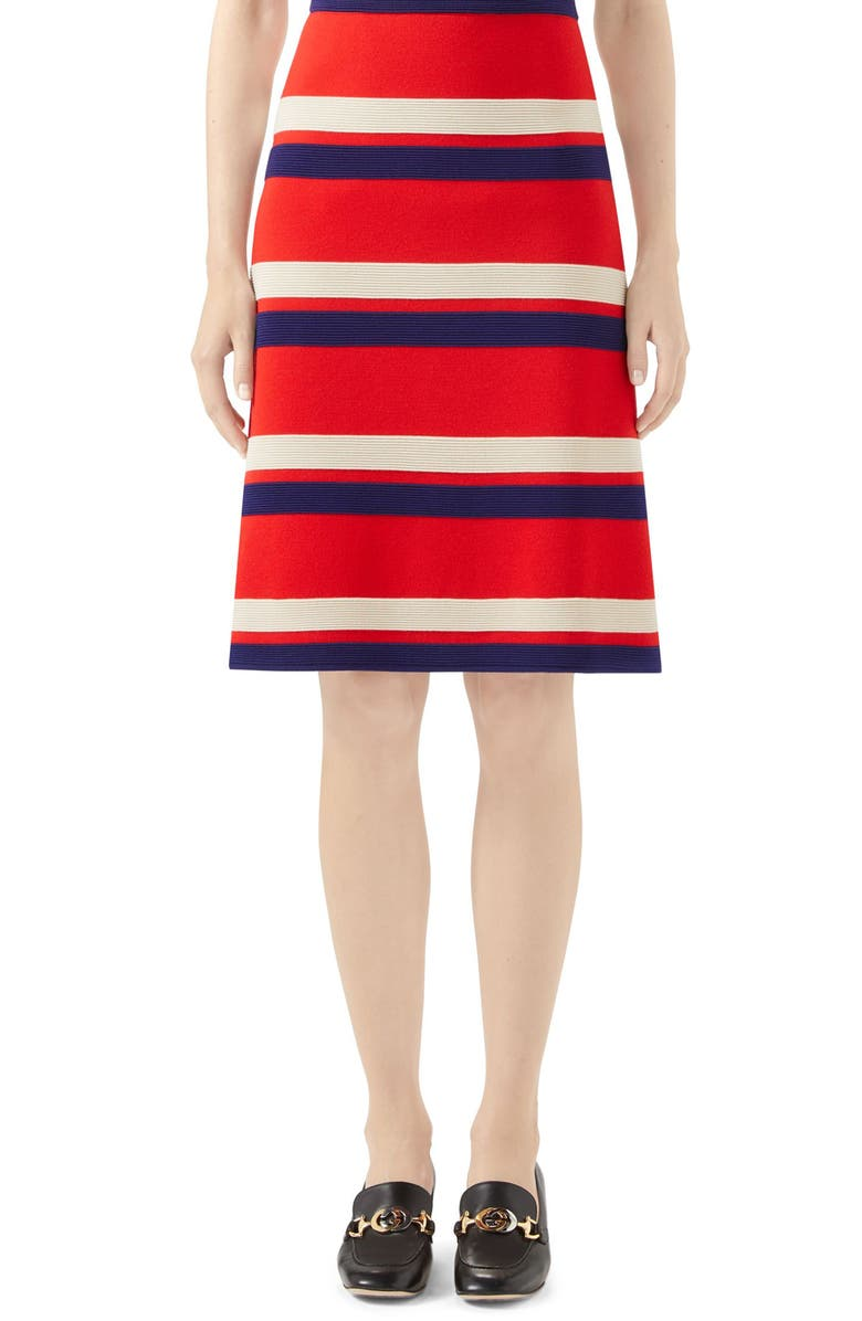GUCCI Stripe Wool Skirt, Main, color, RED/ IVORY