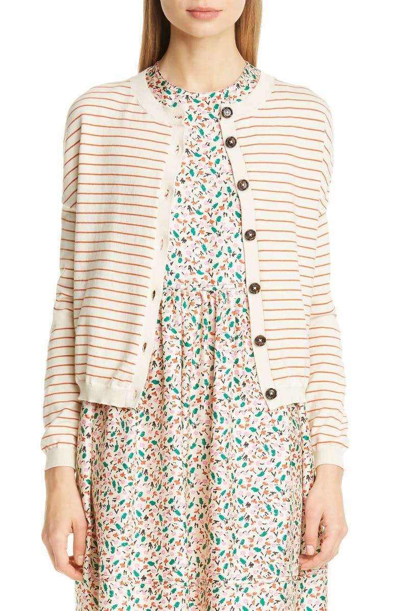 MARNI Stripe Cotton & Cashmere Cardigan, Main, color, LIMESTONE