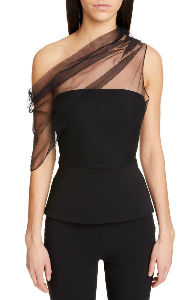 CUSHNIE Tulle Sleeve One-Shoulder Corset Top, Main, color, BLACK