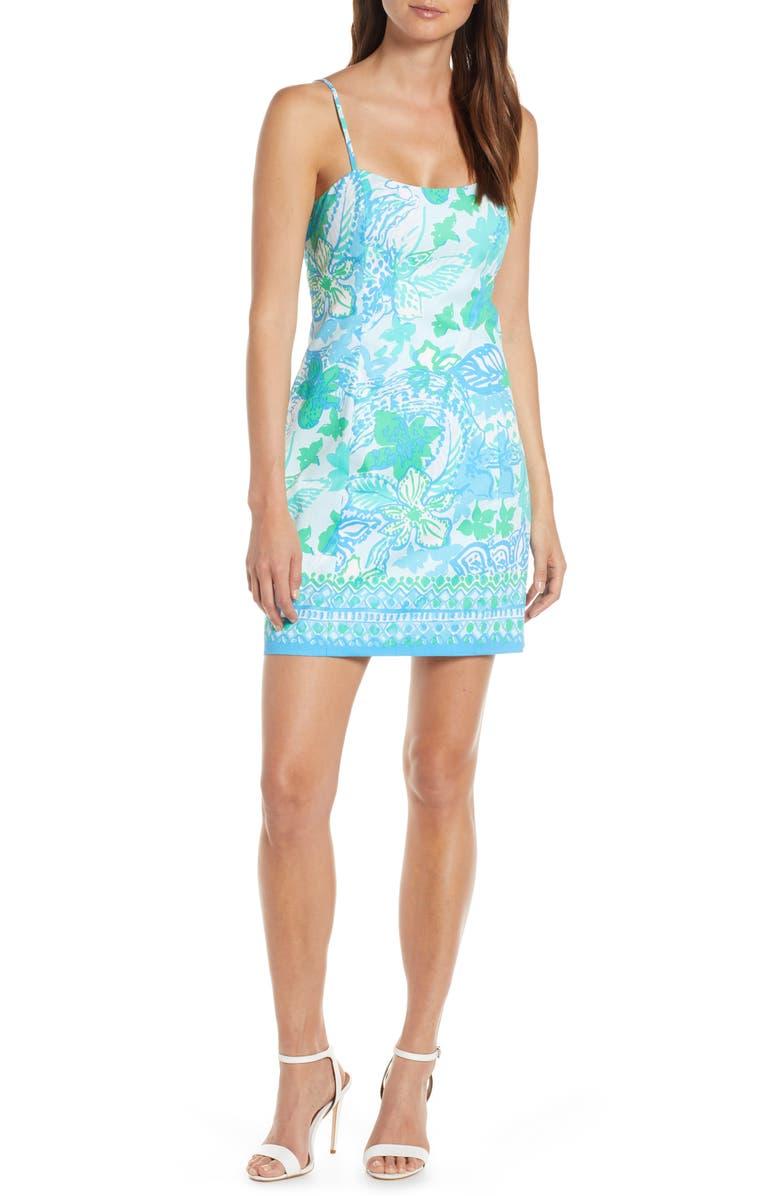 LILLY PULITZER<SUP>®</SUP> Shelli Stretch Sheath Dress, Main, color, WHIPUR BLUE BOOM CROC A LOCCA