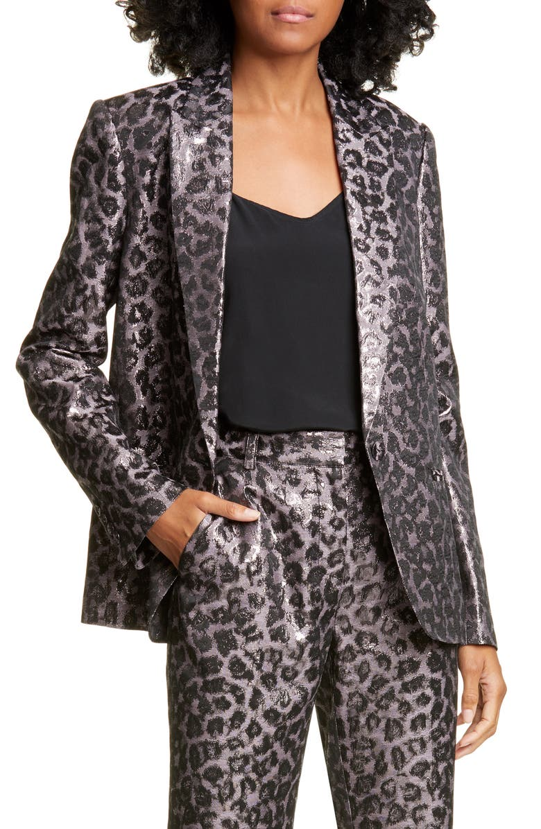 TANYA TAYLOR Analiese Leopard Print Metallic Blazer, Main, color, 021