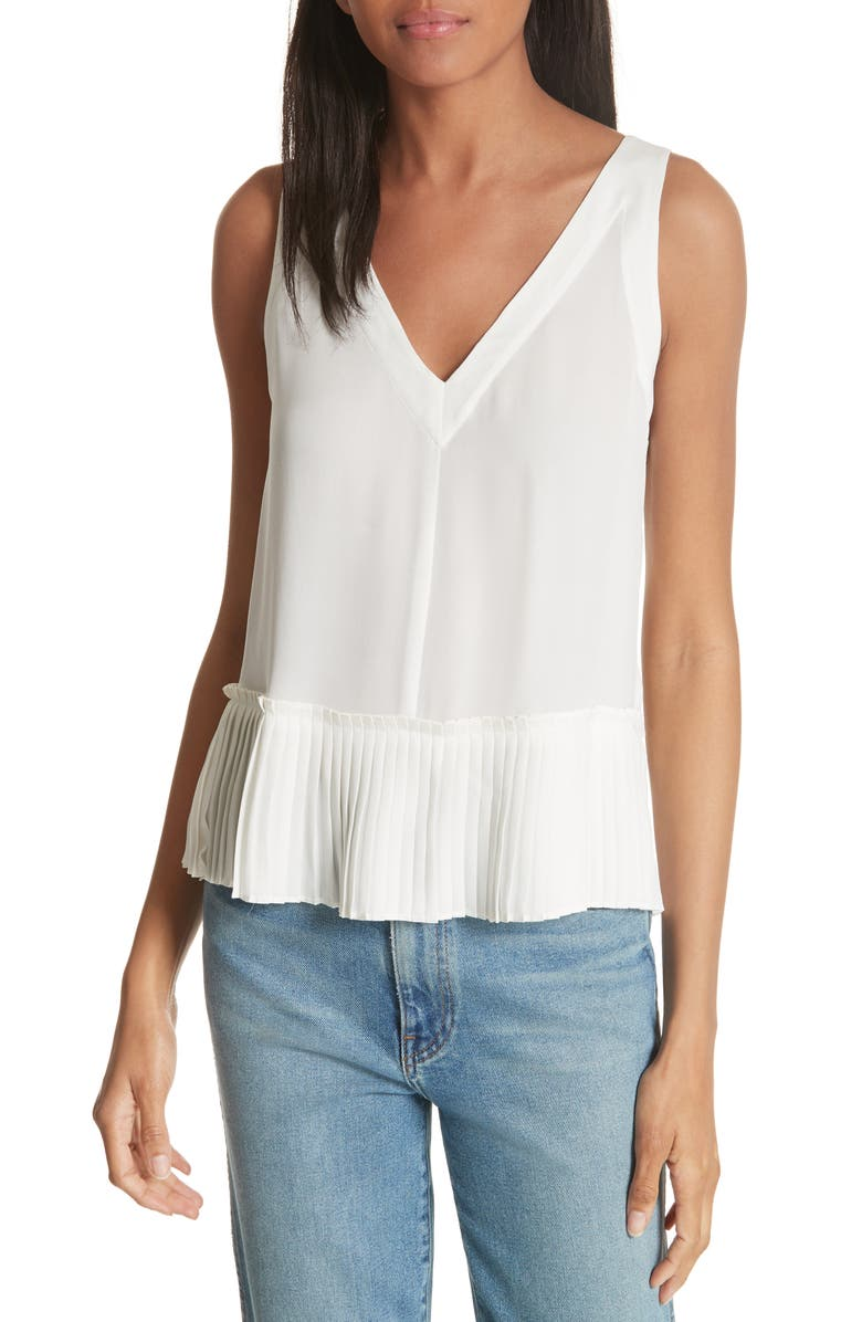REBECCA TAYLOR Pleat Hem Tank, Main, color, SNOW