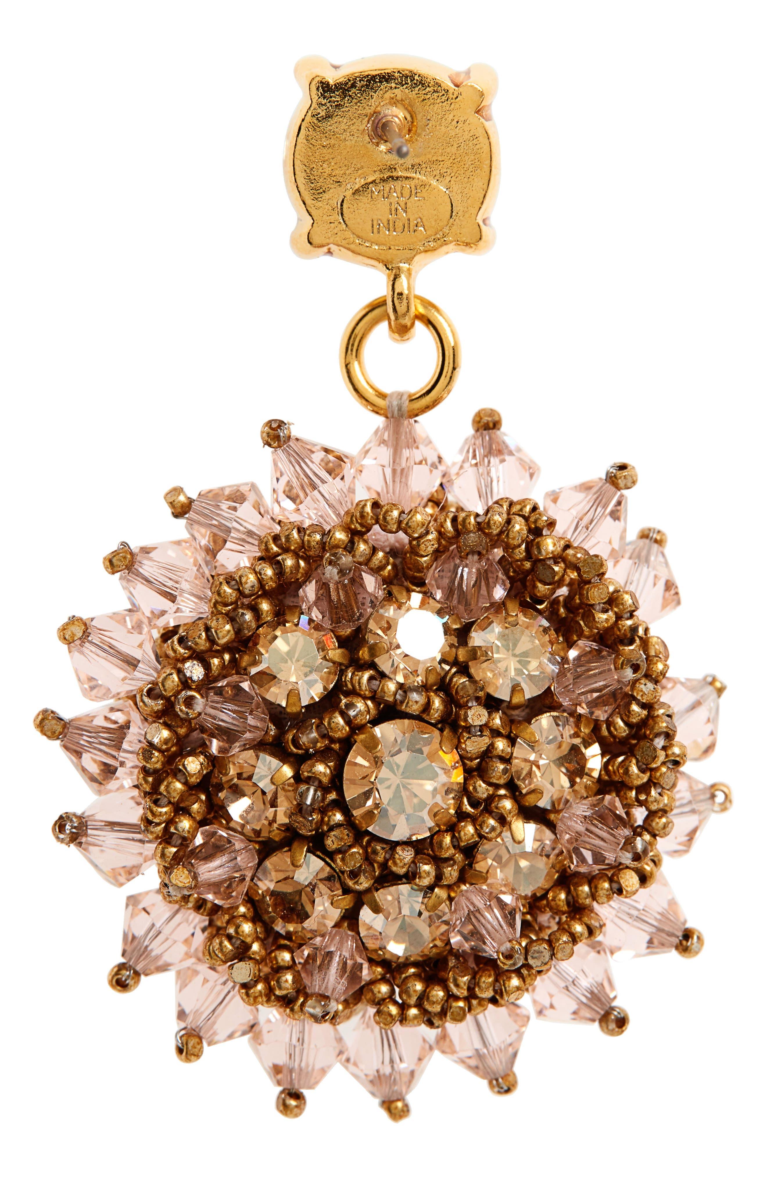 ,                             Beaded Crystal Drop Earrings,                             Alternate thumbnail 3, color,                             CRYSTAL GOLD SHADOW