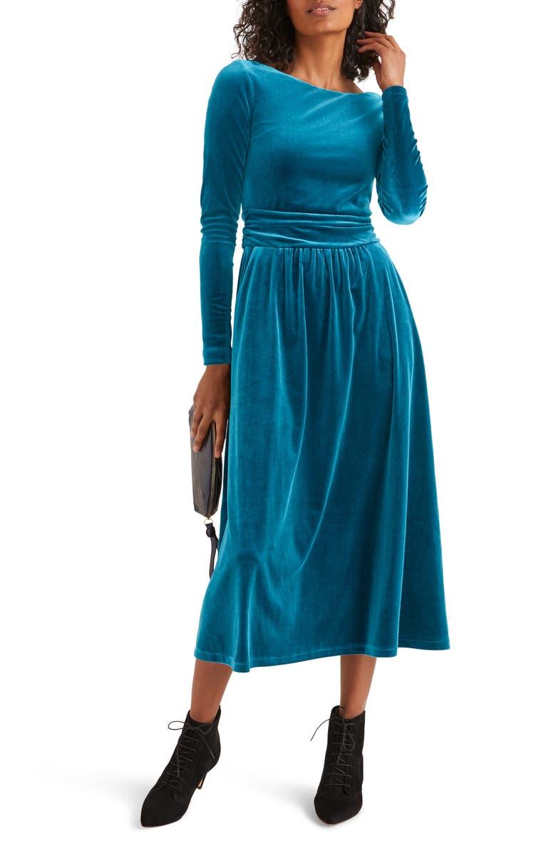 BODEN Lois Long Sleeve Velvet Midi Dress, Main, color, BALTIC