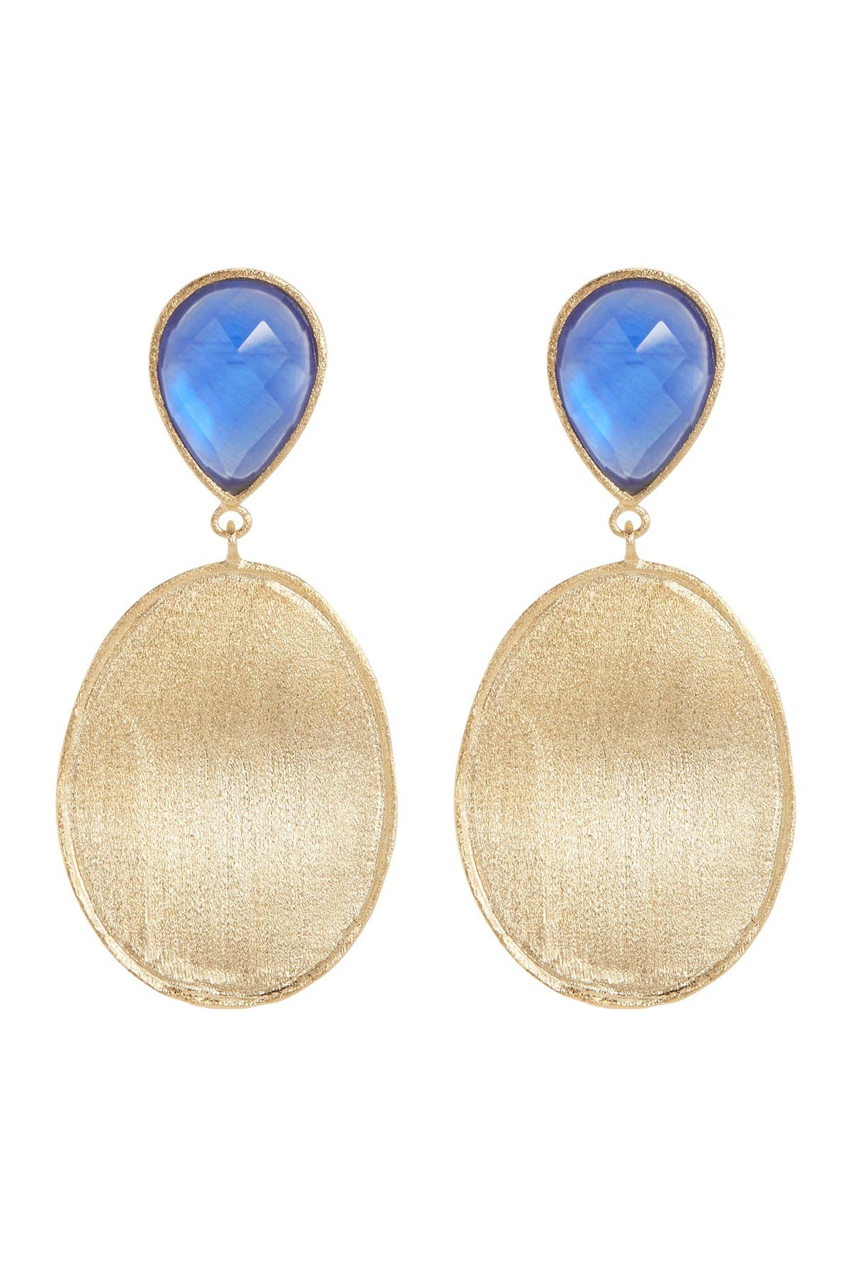 Image of Rivka Friedman 18K Gold Clad Faceted Poppy Blue Crystal, Mother of Pearl Doublet & Satin Wavy Oval Drop Earrings