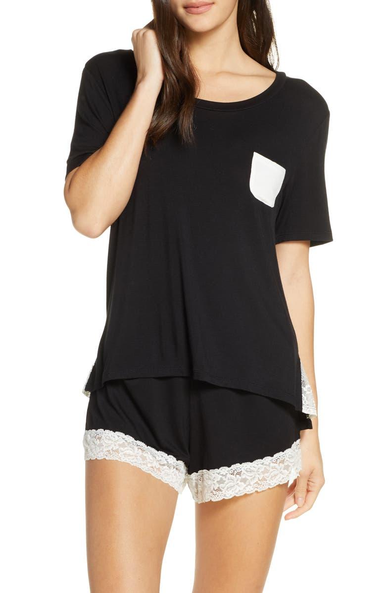 HONEYDEW INTIMATES Something Sweet Short Pajamas, Main, color, BLACK