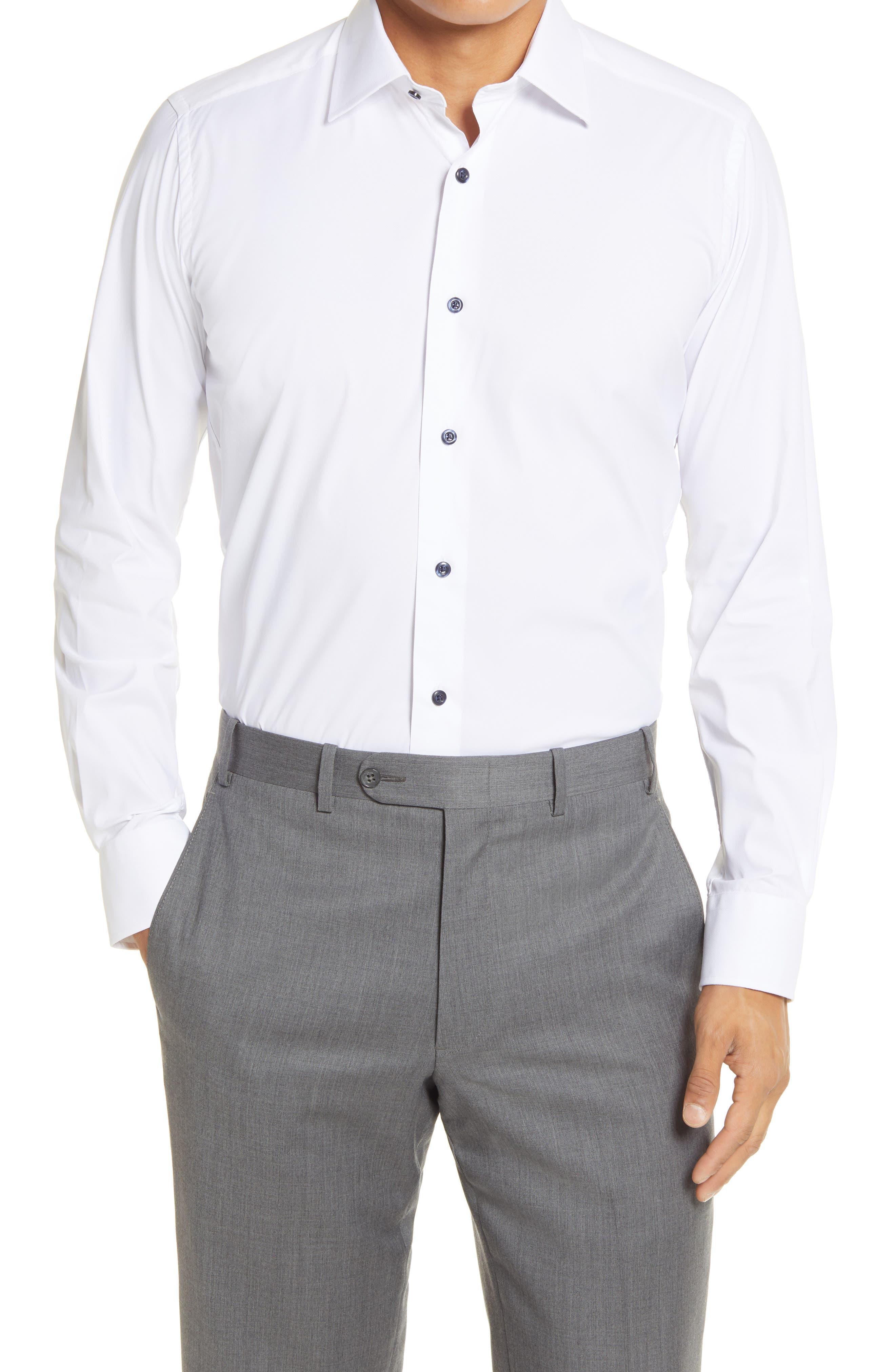 Trim Fit Solid White Performance Dress Shirt