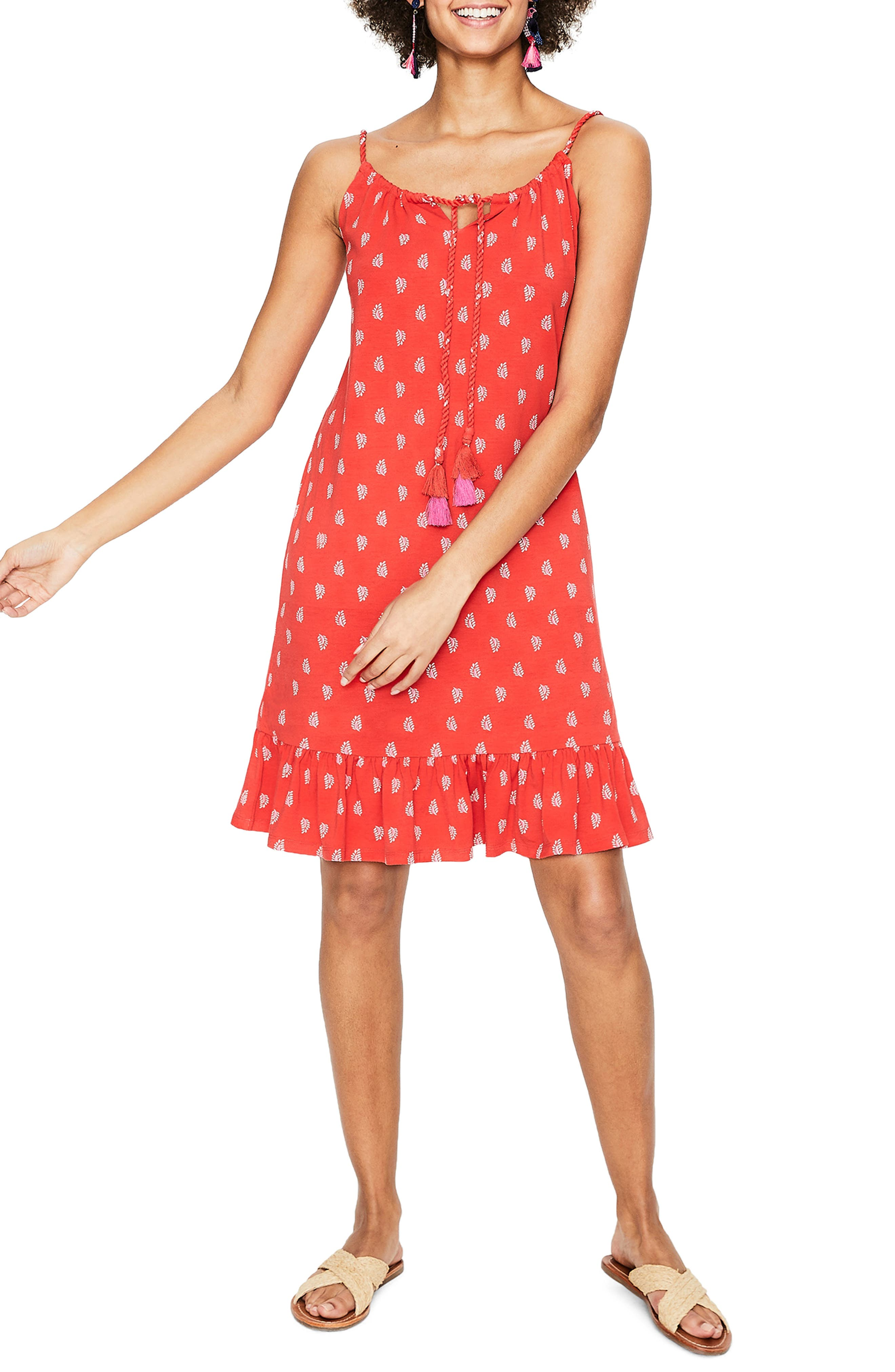 Boden Sophia Print Cotton Blend Jersey Minidress, Red