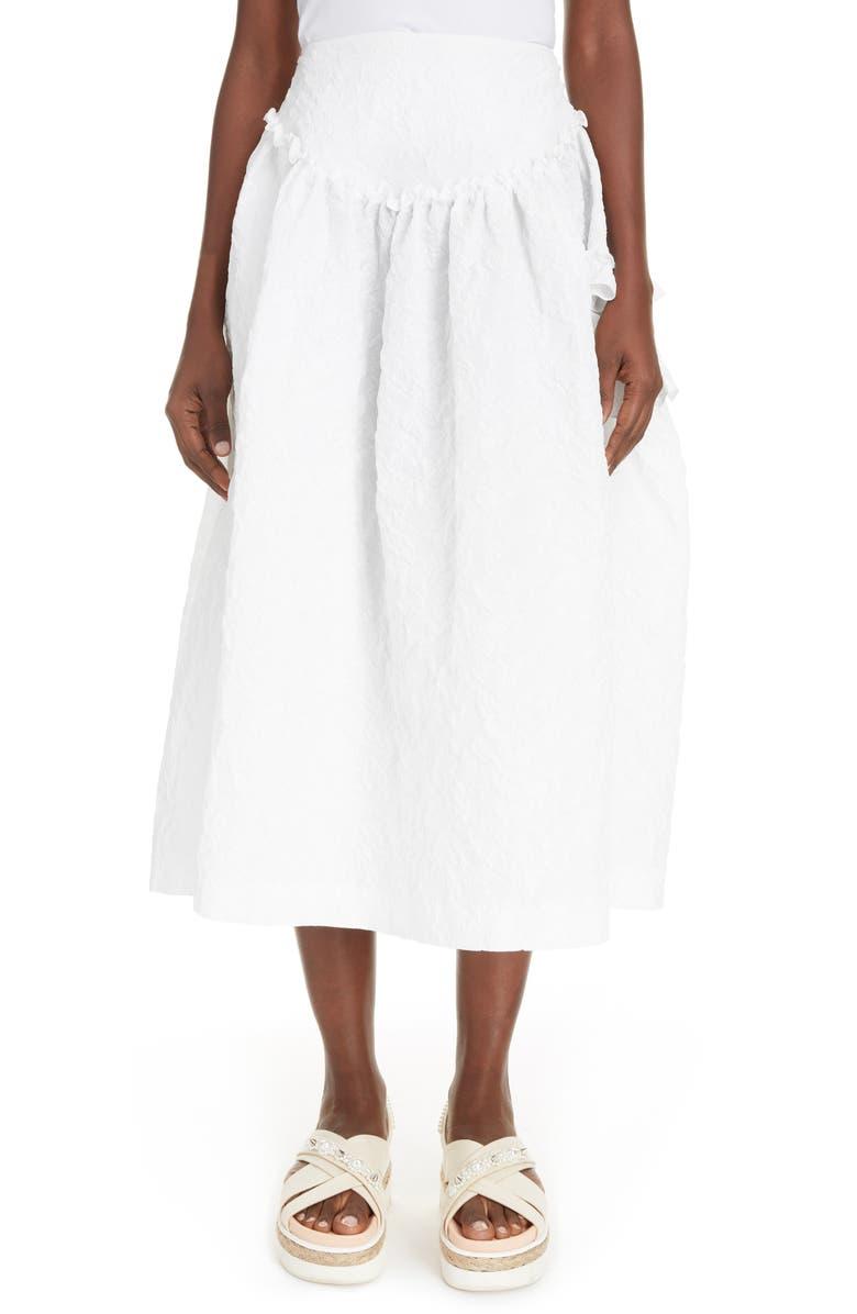 SIMONE ROCHA Cloqué Midi Skirt, Main, color, WHITE