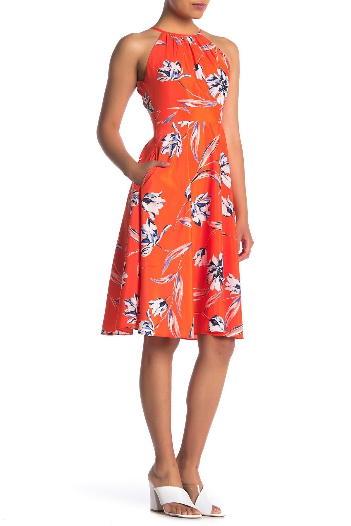 Eliza J   Floral Halter Midi Dress