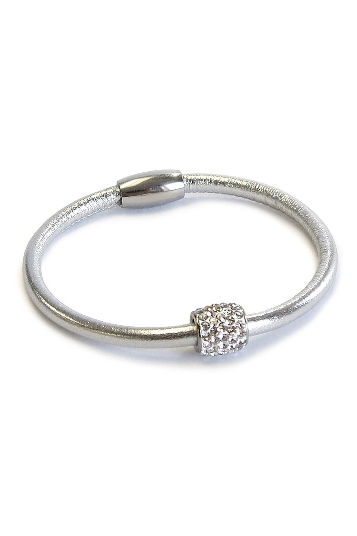 Image of Liza Schwartz Sterling Silver Pave CZ Metallic Leather Bracelet