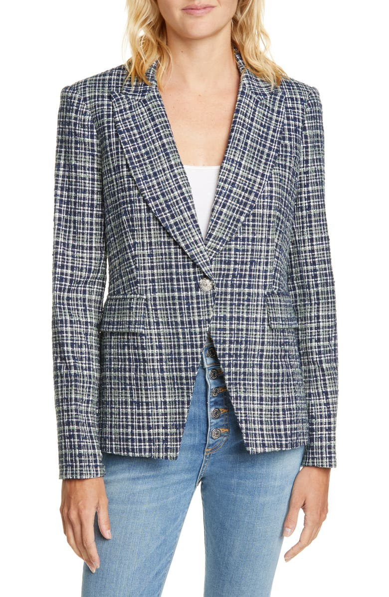 VERONICA BEARD Tweed Cutaway Dickey Jacket, Main, color, NAVY MULTI