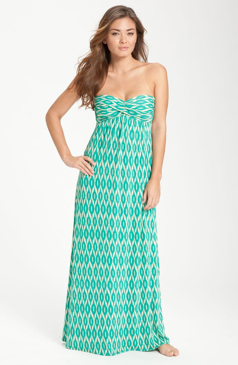 ROBIN PICCONE Ikat Print Strapless Cover-Up Dress, Main, color, 320