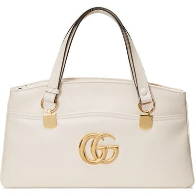 Gucci Large Arli Leather Top Handle Bag - White