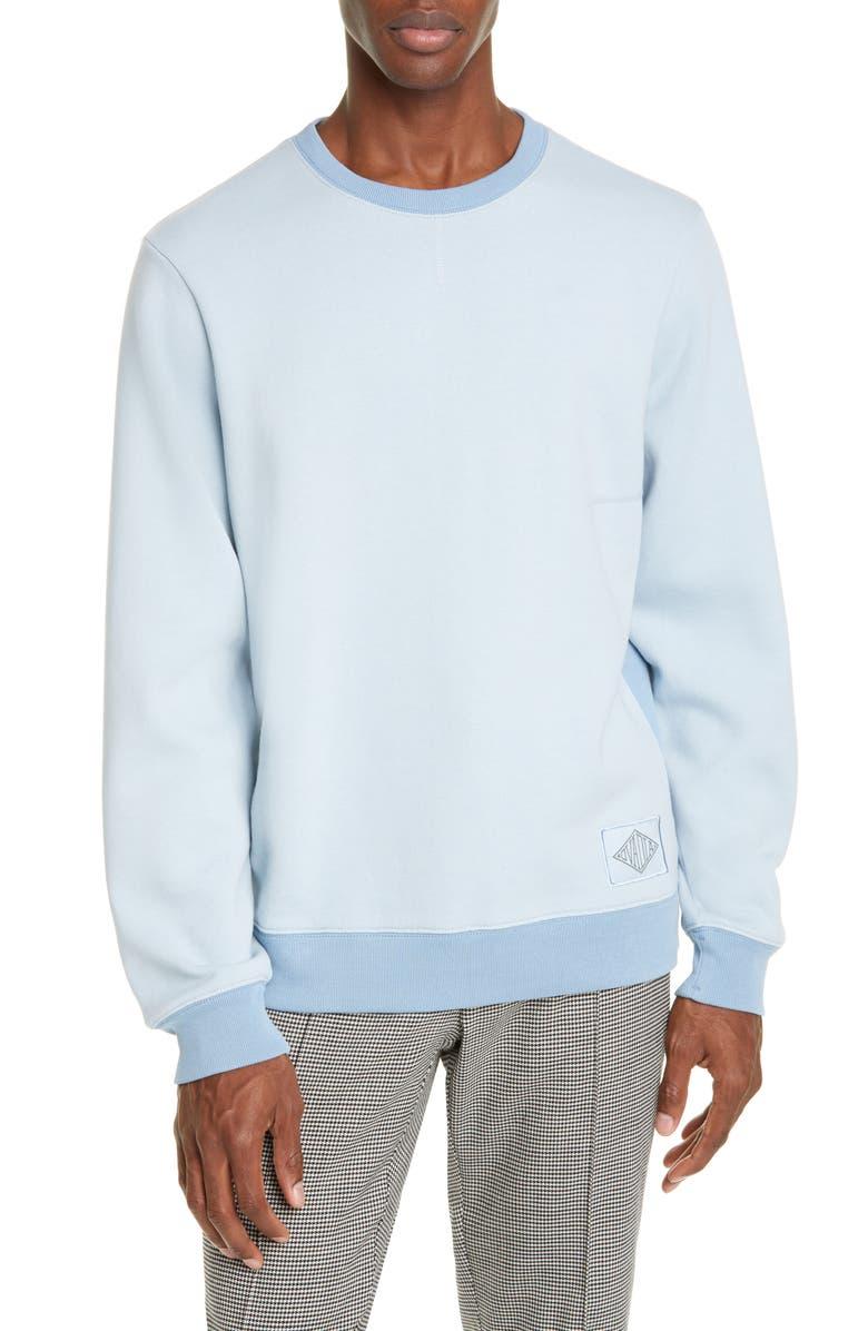 OVADIA Dune Crewneck Sweatshirt, Main, color, BLUE FOG