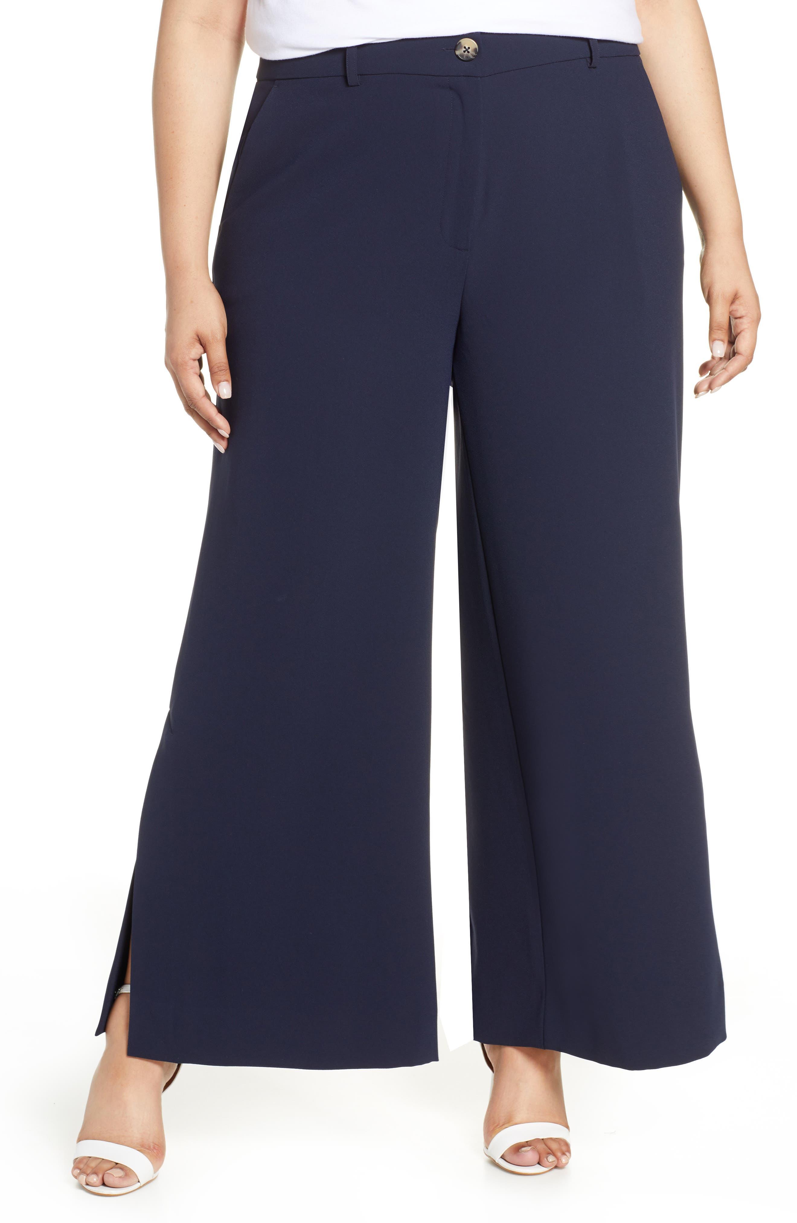 RACHEL Rachel Roy Wide Leg Trousers, Main, color, TRUE NAVY