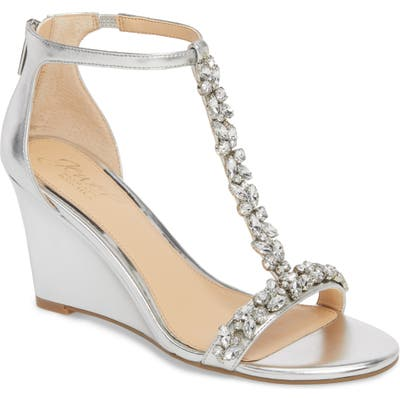 Jewel Badgley Mischka Meryl Wedge Sandal, Metallic
