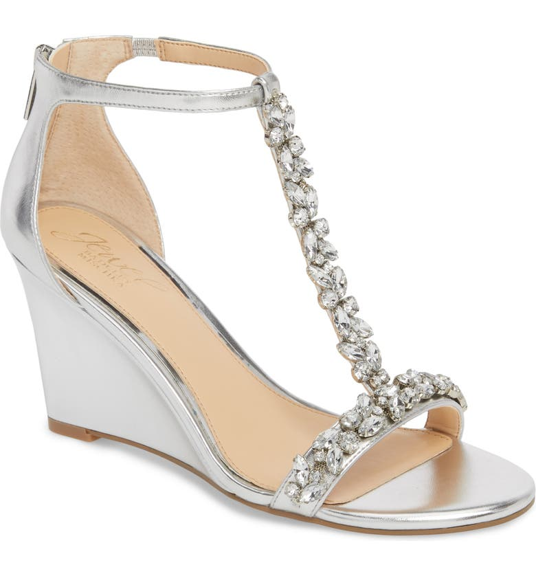 JEWEL BADGLEY MISCHKA Meryl Wedge Sandal, Main, color, SILVER LEATHER