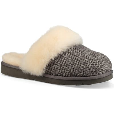 UGG Cozy Knit Genuine Shearling Slipper, Grey
