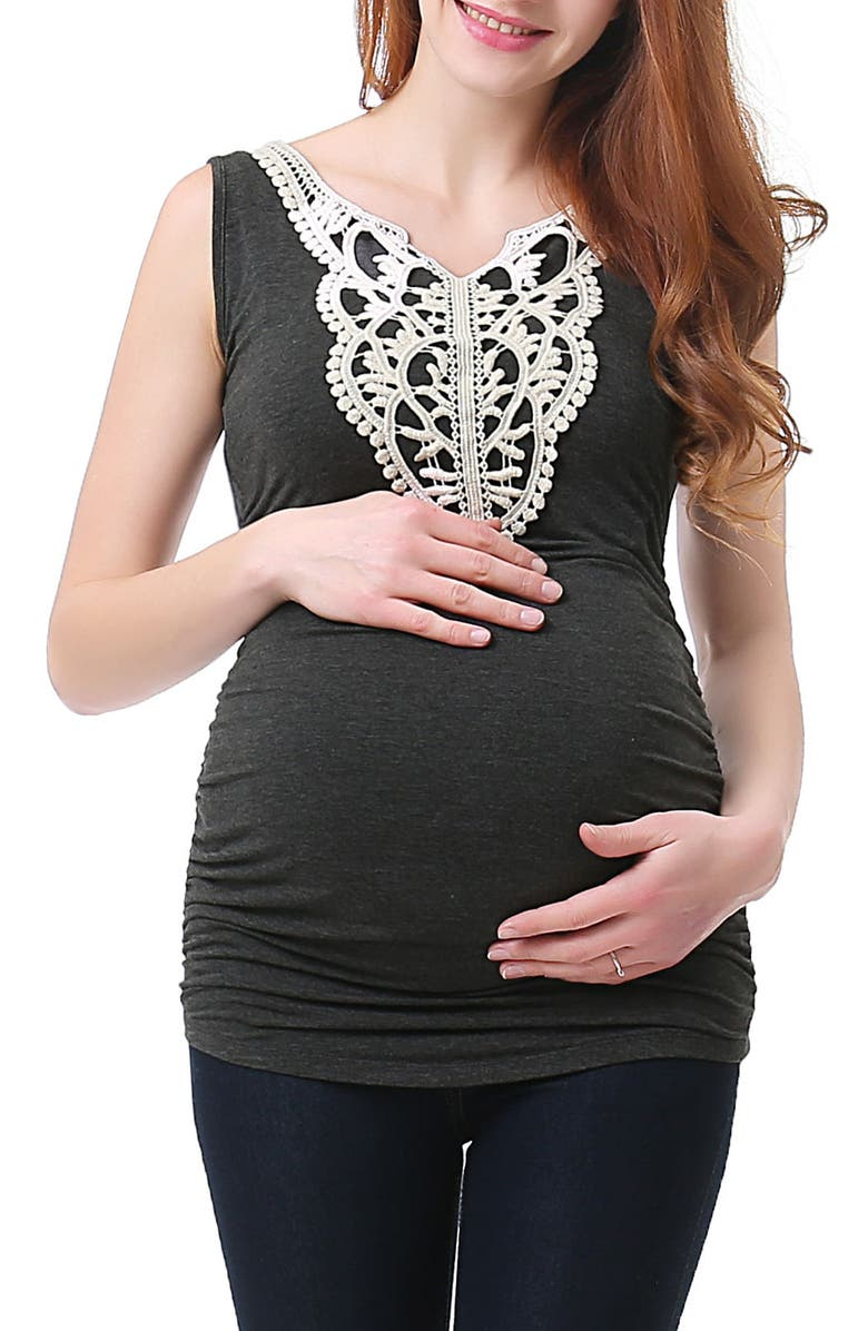 KIMI AND KAI Iris Lace Trim Maternity Tank, Main, color, DARK HEATHER GREY