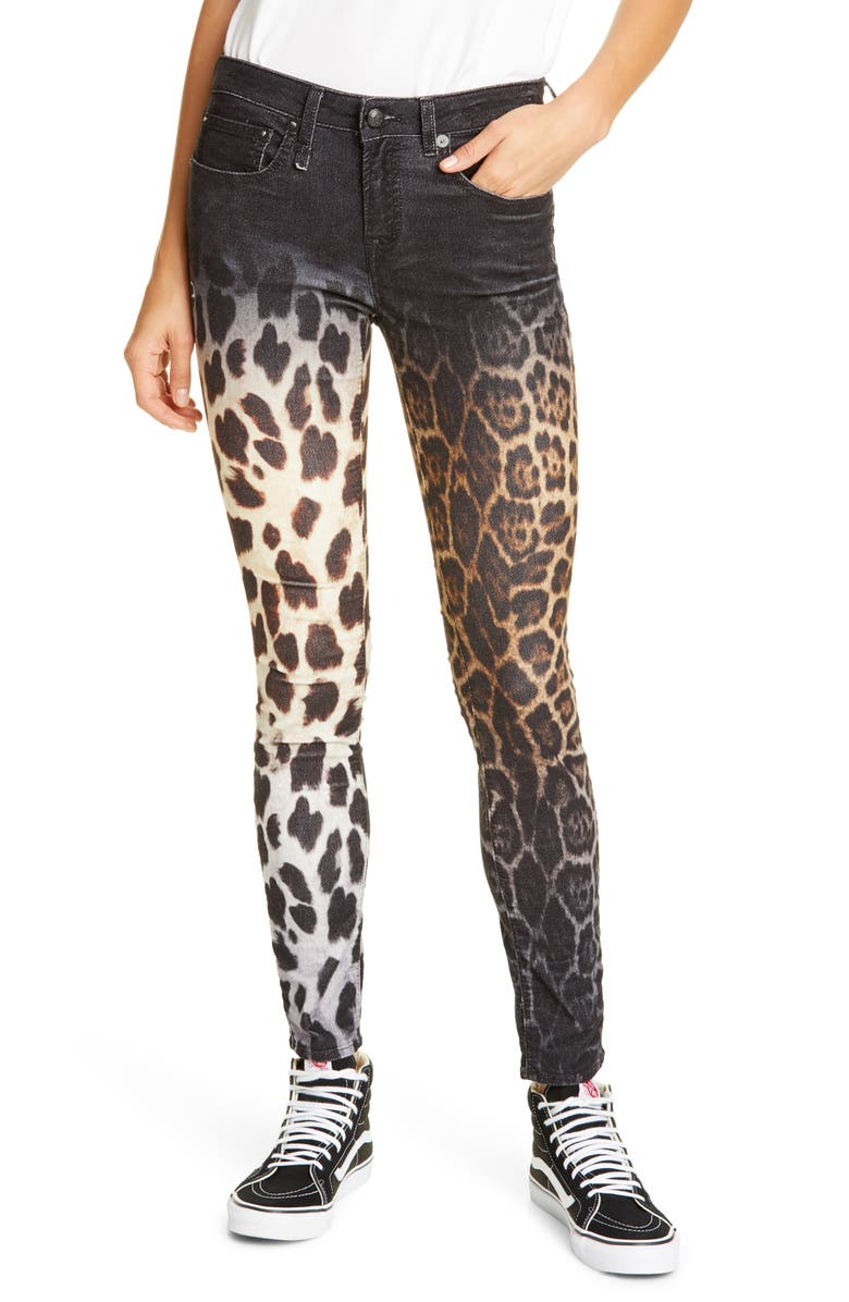 R13 Allison Skinny Jeans, Main, color, FADED BLACK LEOPARD