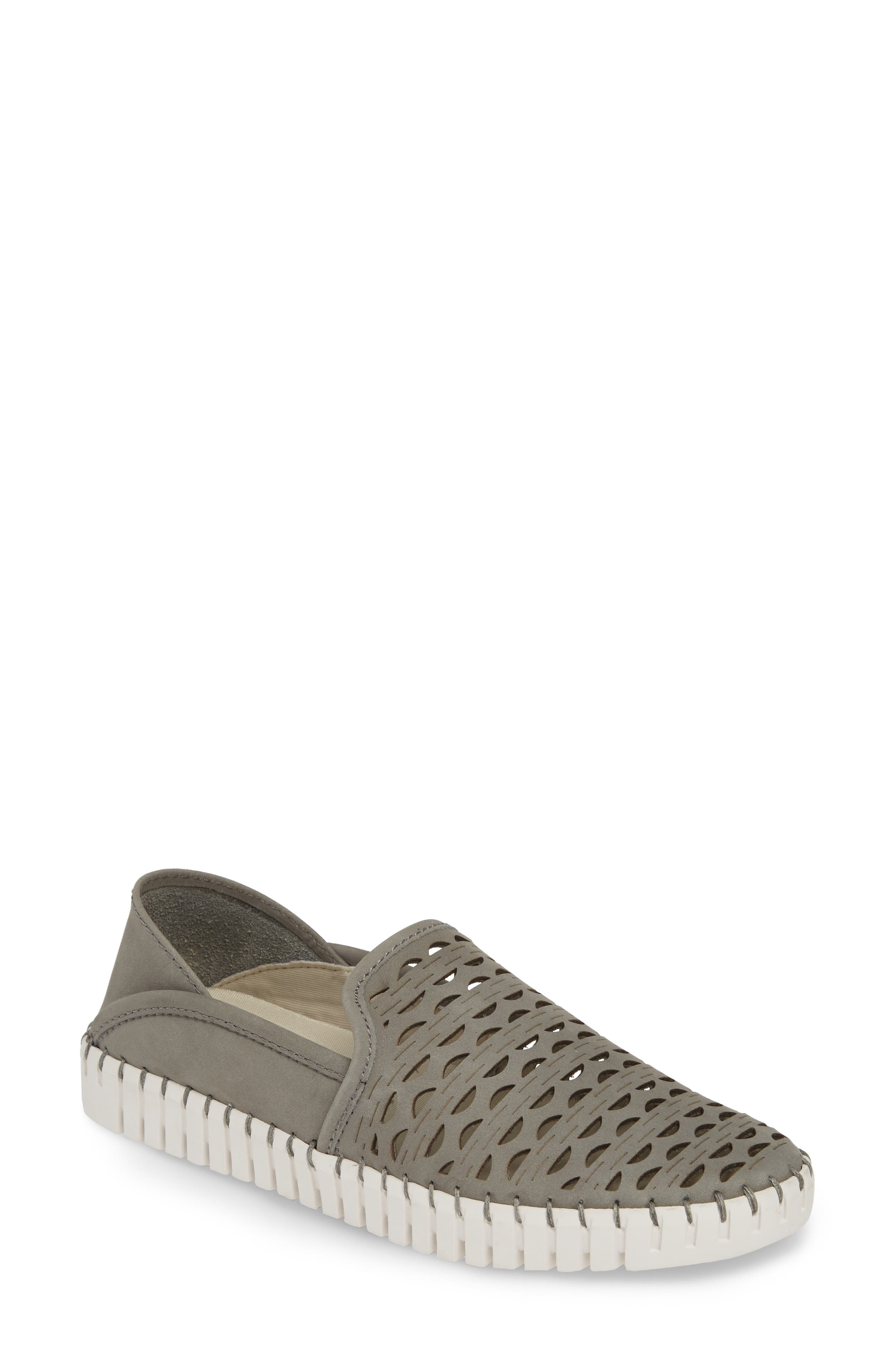 Janelle Perforated Slip-On, Main, color, GREY NUBUCK LEATHER