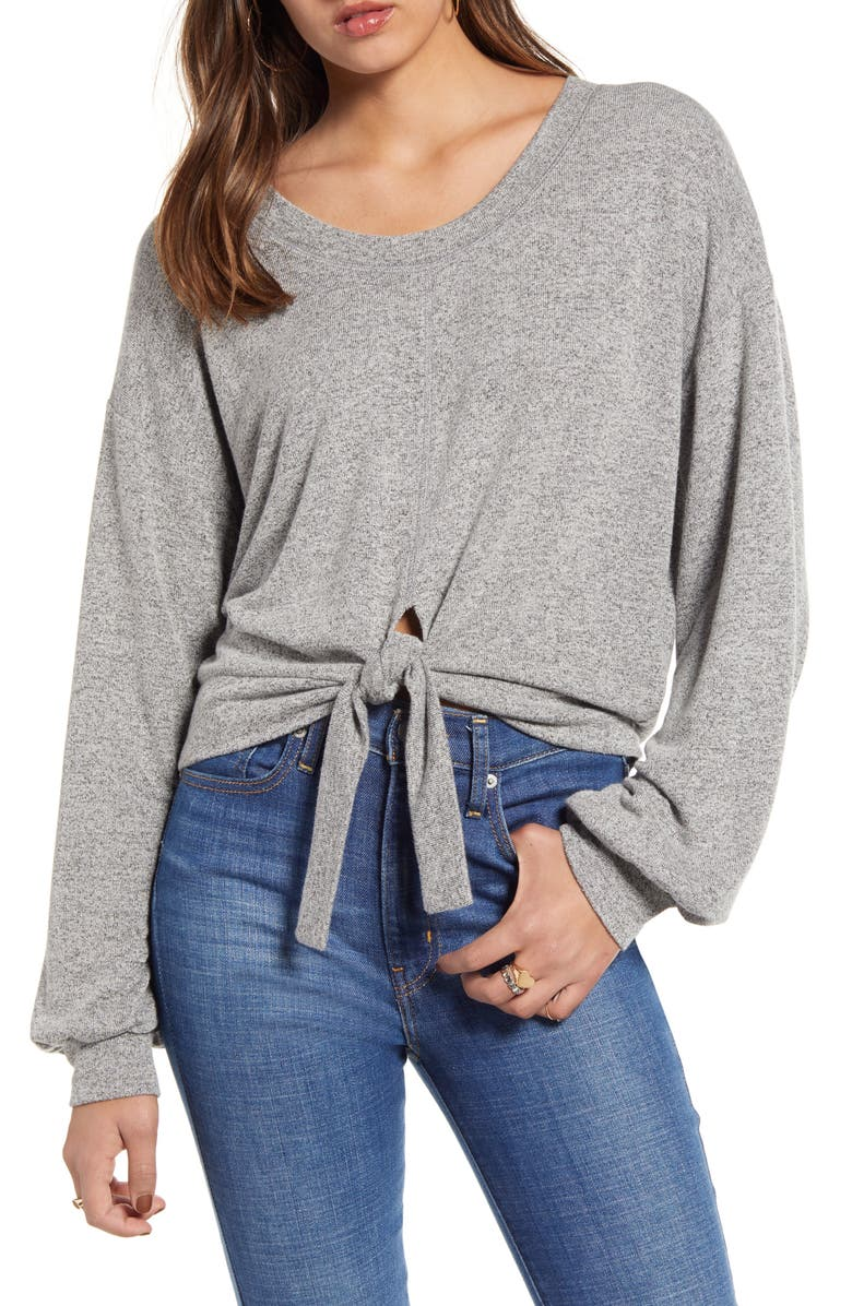 BILLABONG All Tied Up Knot Hem Top, Main, color, ASH HEATHER