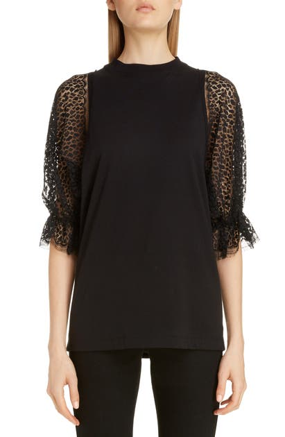 Givenchy Tops LACE SLEEVE JERSEY TEE