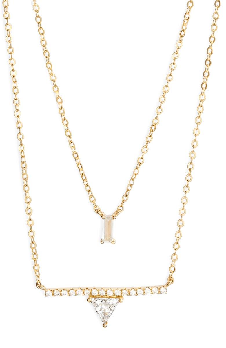 NORDSTROM Two-Tier Baguette & Trillium Cubic Zirconia Pendant Necklace, Main, color, CLEAR- GOLD