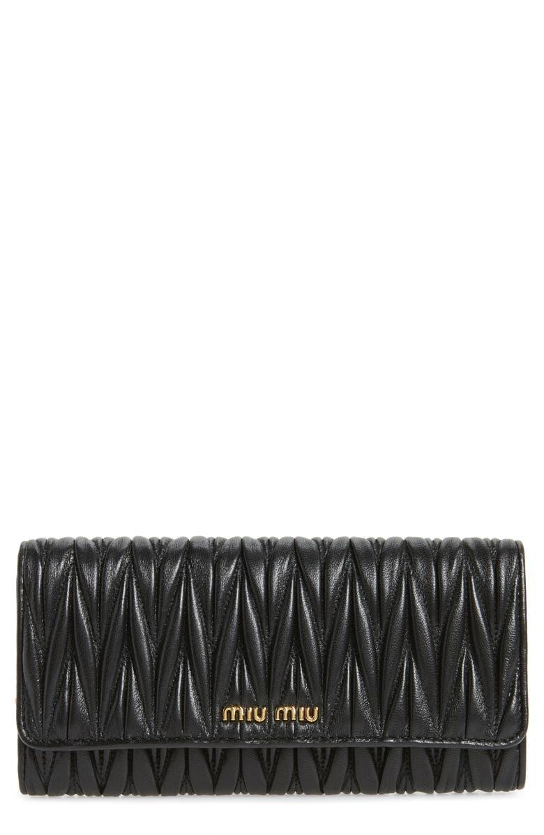 MIU MIU Matelassé Leather Continental Wallet, Main, color, 001