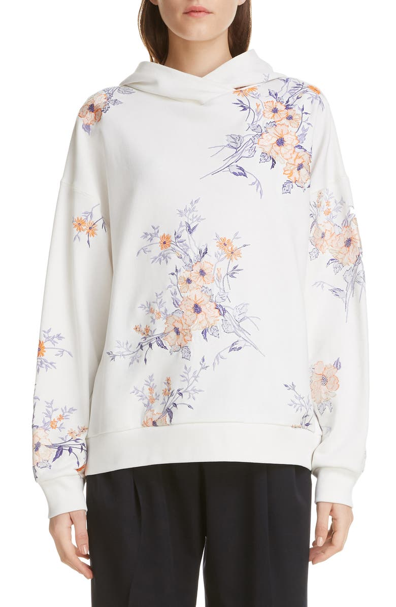 DRIES VAN NOTEN Haury Floral Embroidered Hoodie, Main, color, 100
