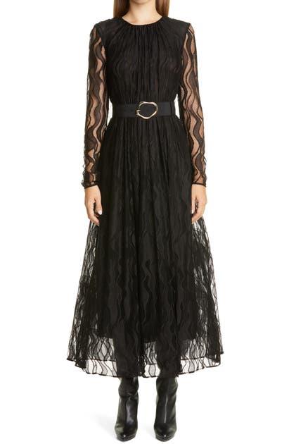 Lafayette 148 Dresses HAYDEN WAVE LACE BELTED LONG SLEEVE DRESS
