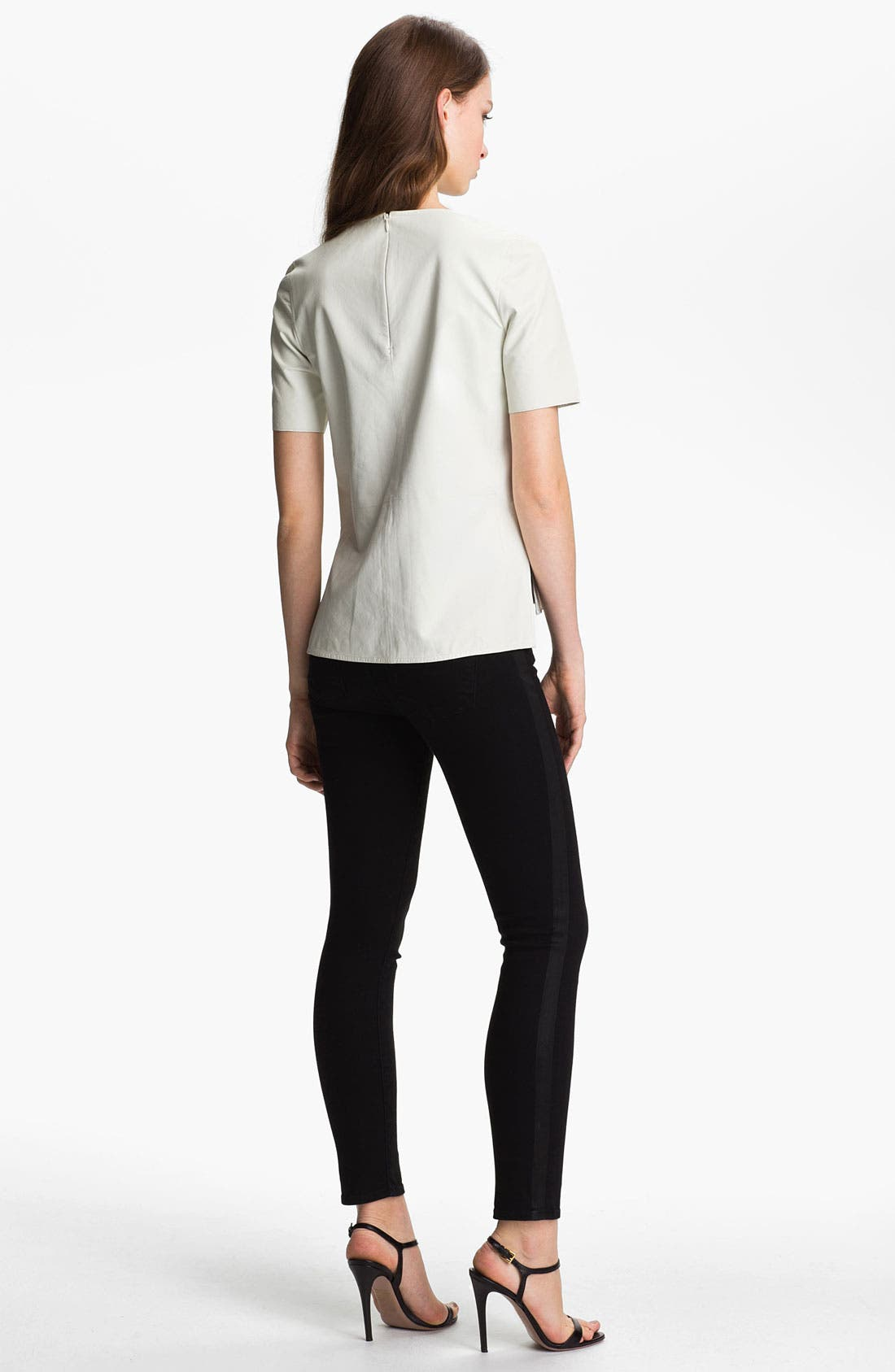 ,                             Leather Tee,                             Alternate thumbnail 8, color,                             100